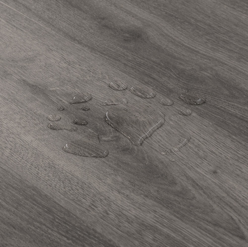 Closeup view of a floor with Moonstone vinyl flooring installed