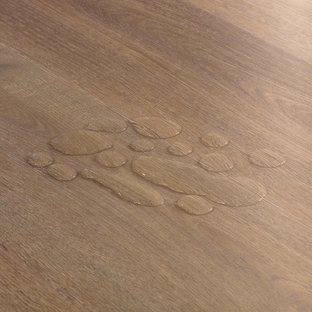 Closeup view of a floor with Hollister vinyl flooring installed