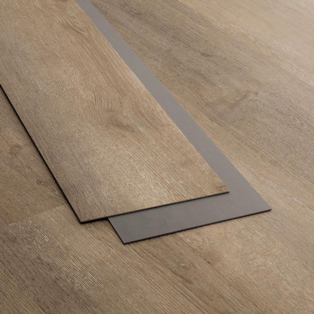 Closeup view of a floor with Arrowhead vinyl flooring installed