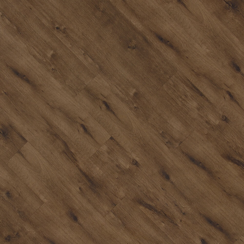 Closeup view of a floor with Chestnut vinyl flooring installed