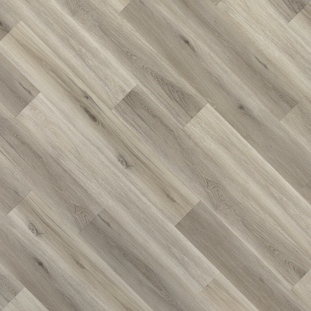 Closeup view of a floor with Fossil vinyl flooring installed