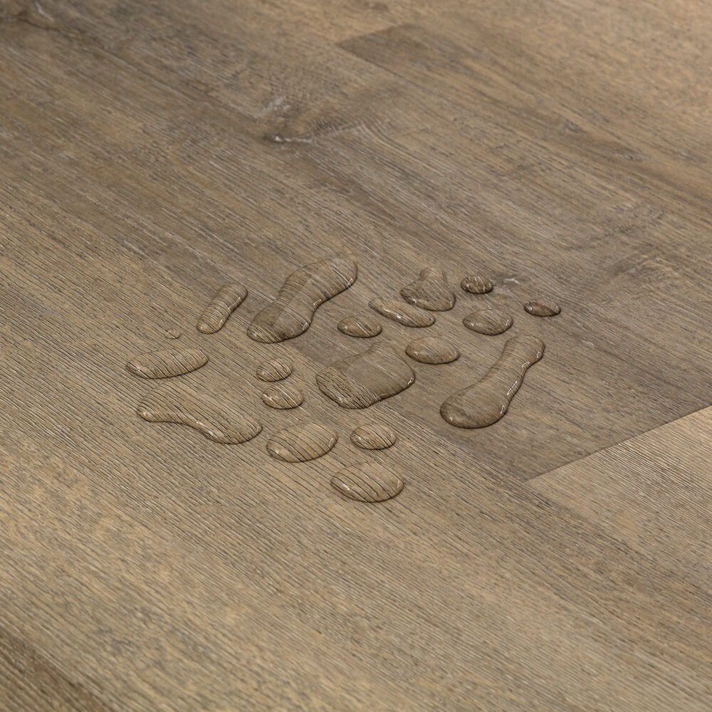 Closeup view of a floor with Arrowhead vinyl flooring installed