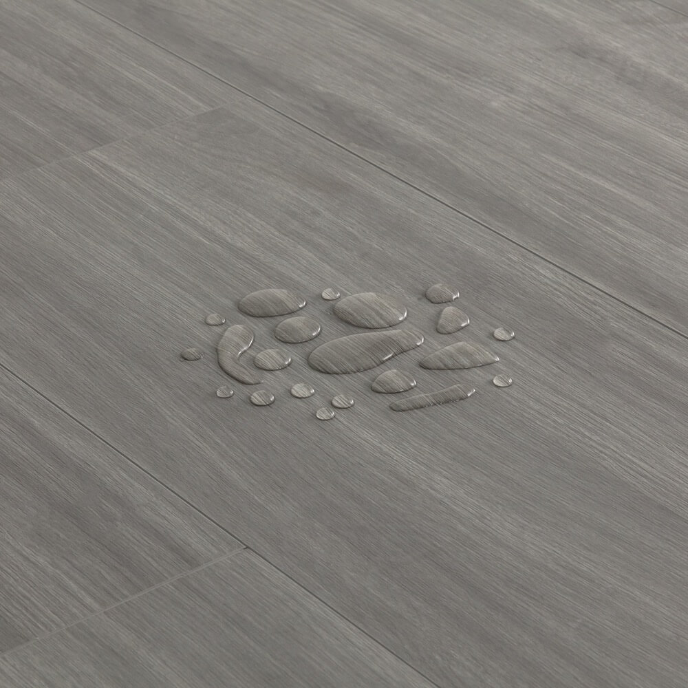 Closeup view of a floor with Summit Gray vinyl flooring installed