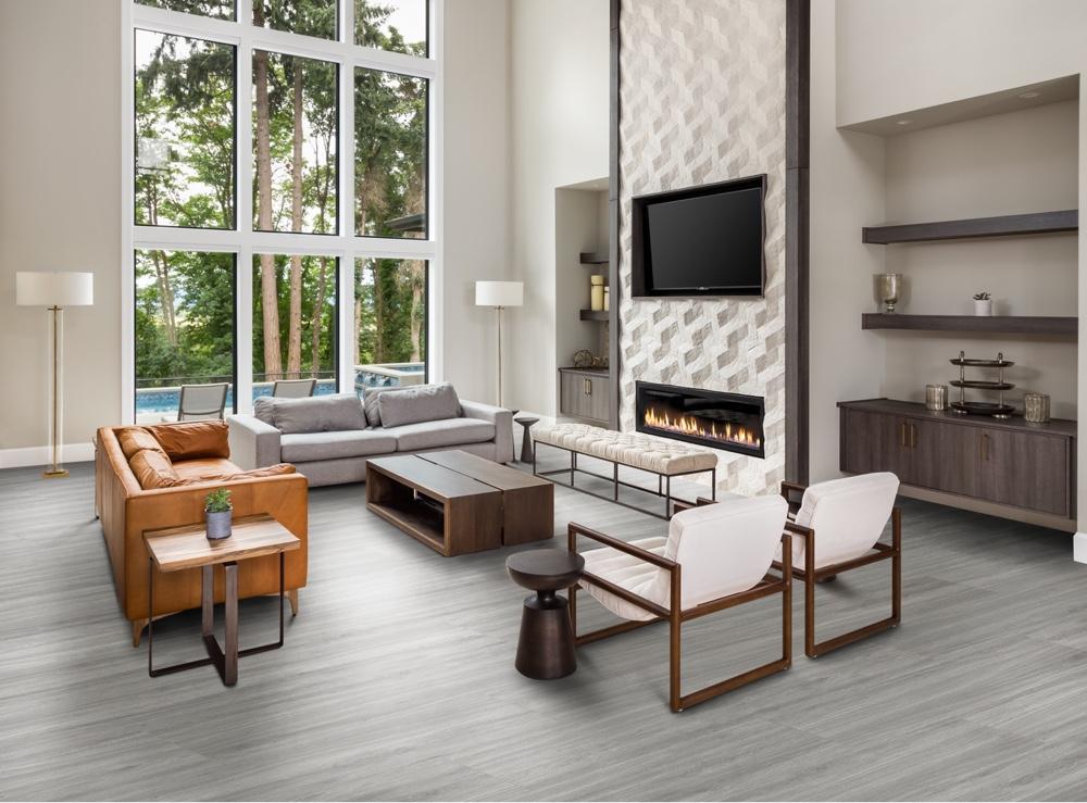 Closeup view of a floor with Summit Gray - Scratch Resistant Waterproof Floating Floor vinyl flooring installed