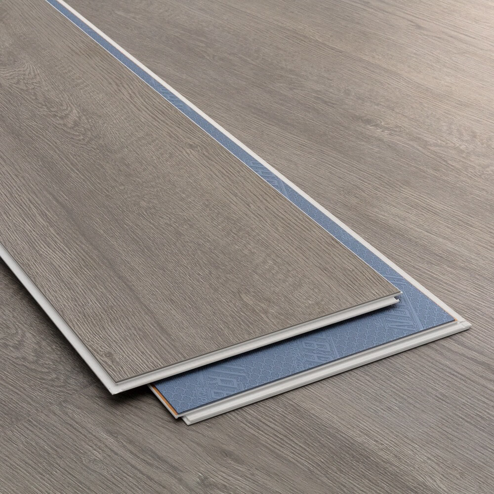 Closeup view of a floor with Castle Grey - Scratch Resistant Waterproof Floating Floor vinyl flooring installed