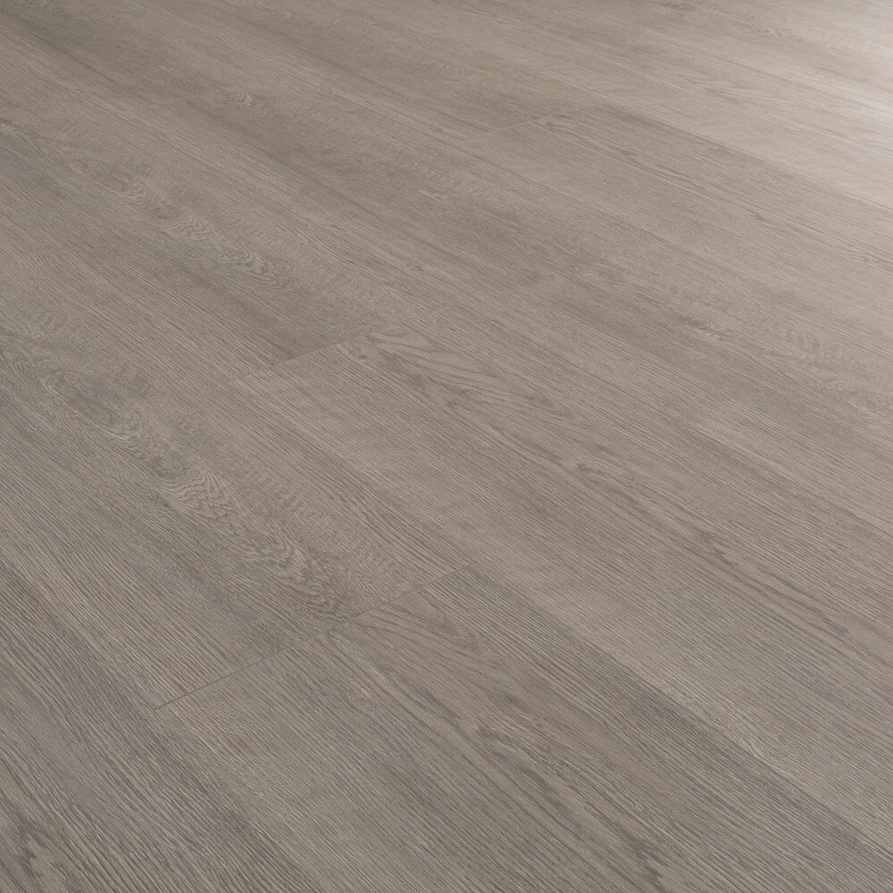Closeup view of a floor with Castle Grey vinyl flooring installed