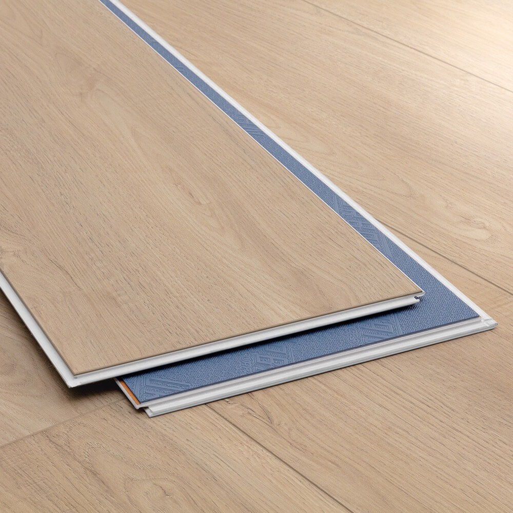 Closeup view of a floor with Scandinavian Brown vinyl flooring installed
