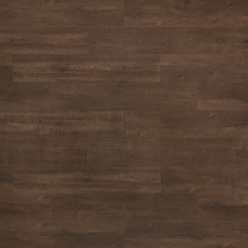 Closeup view of a floor with Chateau Brown vinyl flooring installed
