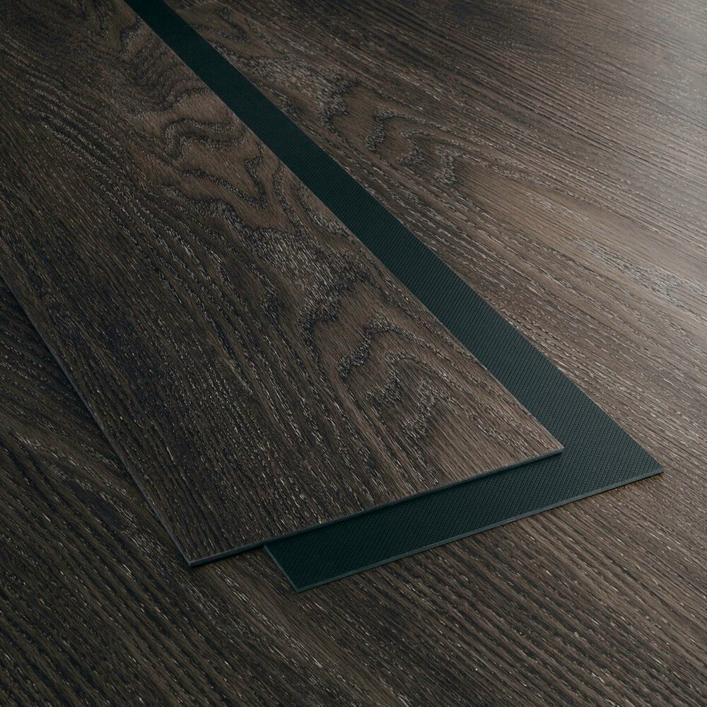 Closeup view of a floor with Midnight Grey vinyl flooring installed