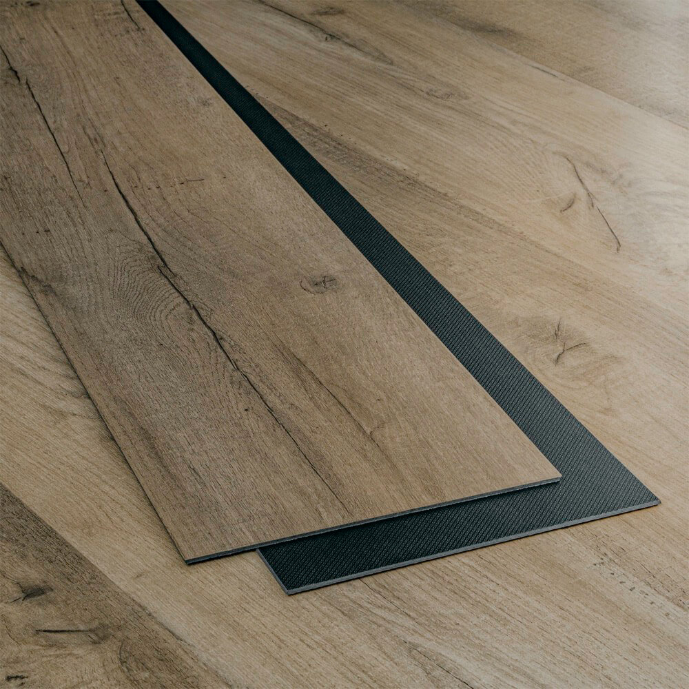 Closeup view of a floor with Boardwalk vinyl flooring installed