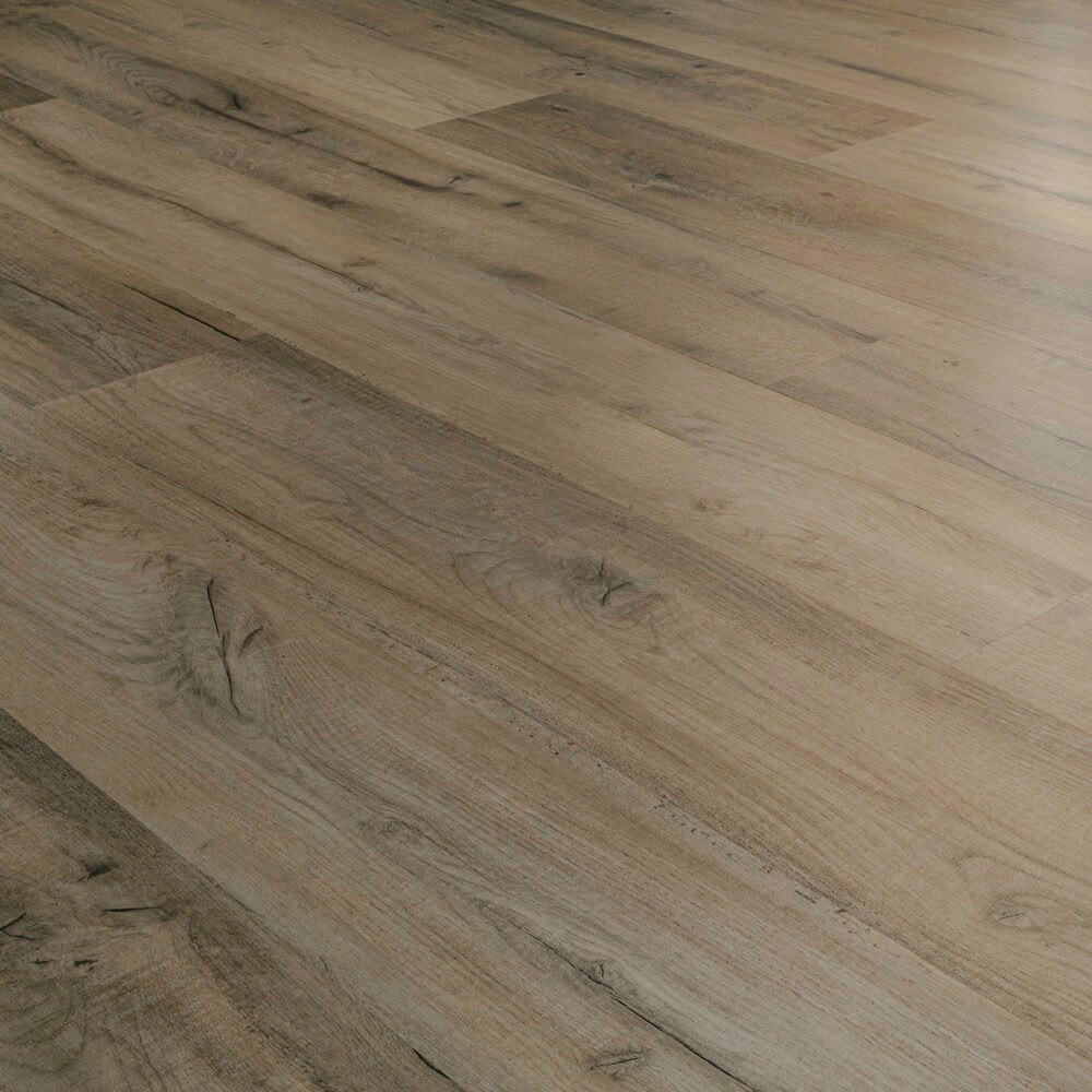 Closeup view of a floor with Boardwalk vinyl flooring installed