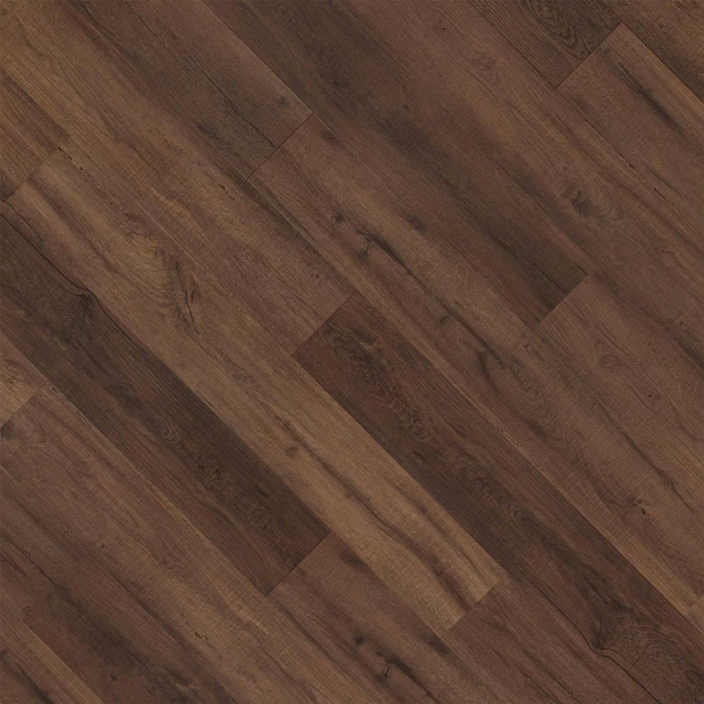 Closeup view of a floor with Emberwood vinyl flooring installed
