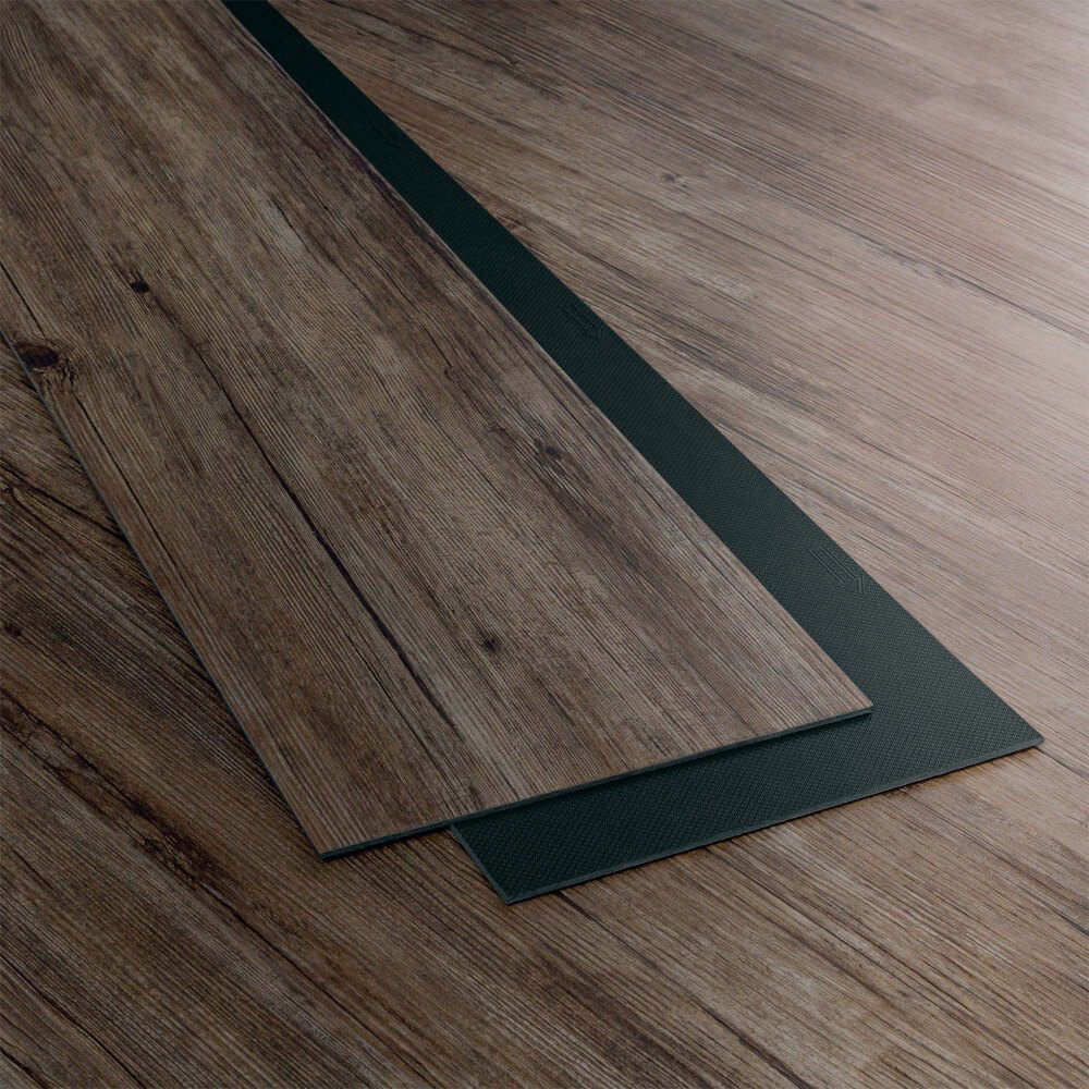 Closeup view of a floor with Ash vinyl flooring installed