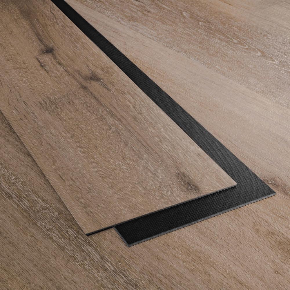Closeup view of a floor with Sedona vinyl flooring installed