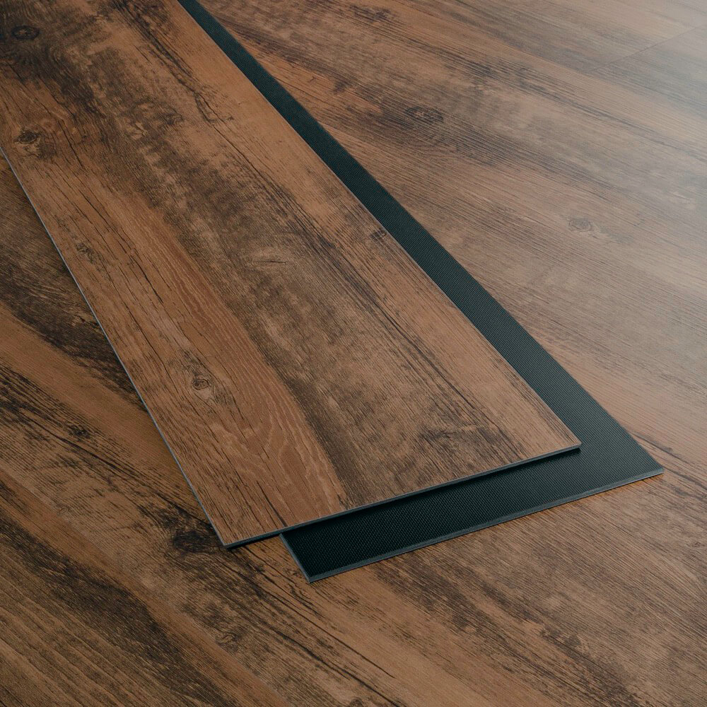 Closeup view of a floor with Cedar vinyl flooring installed