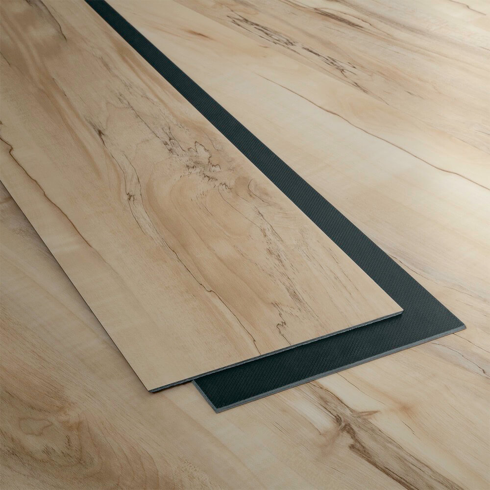 Closeup view of a floor with Pembroke vinyl flooring installed