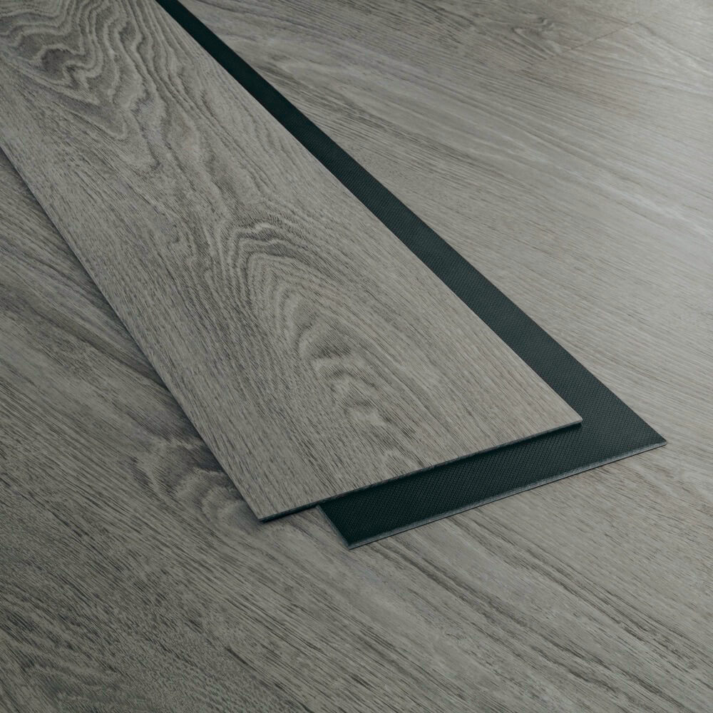 Closeup view of a floor with Stoney Mountain vinyl flooring installed