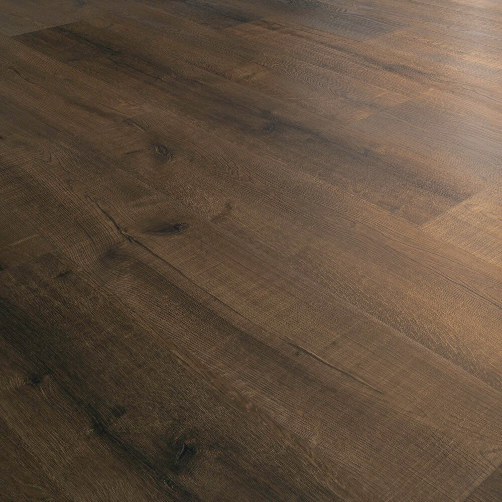 Closeup view of a floor with Bridgeport vinyl flooring installed