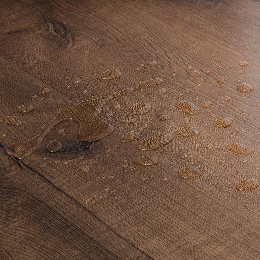 Closeup view of a floor with Bridgeport vinyl flooring installed