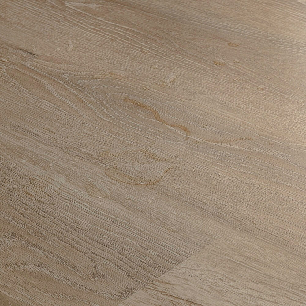 Closeup view of a floor with Driftwood vinyl flooring installed