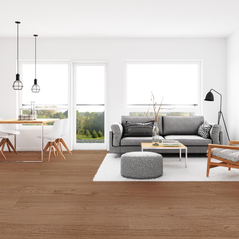 Closeup view of a floor with Vineyard vinyl flooring installed