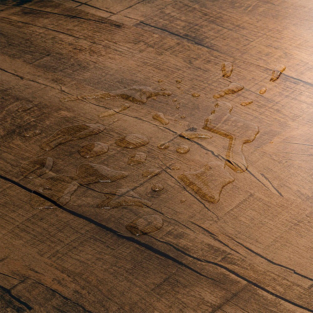 Closeup view of a floor with Barn Owl vinyl flooring installed