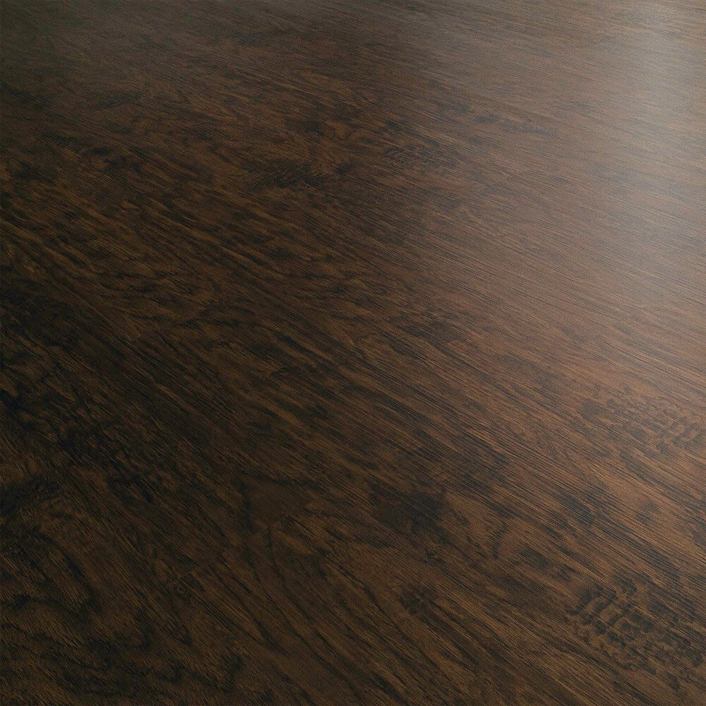Closeup view of a floor with Dark Walnut vinyl flooring installed