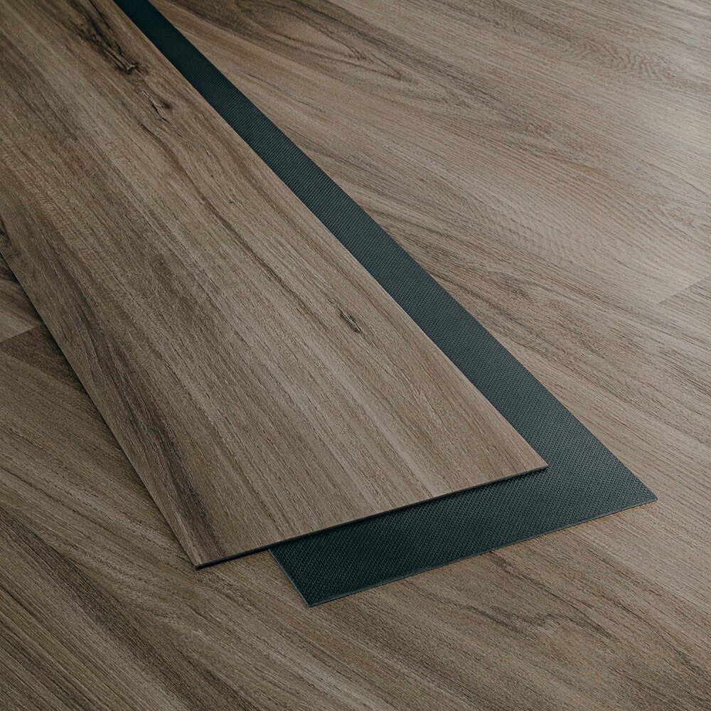 Closeup view of a floor with Berlin vinyl flooring installed