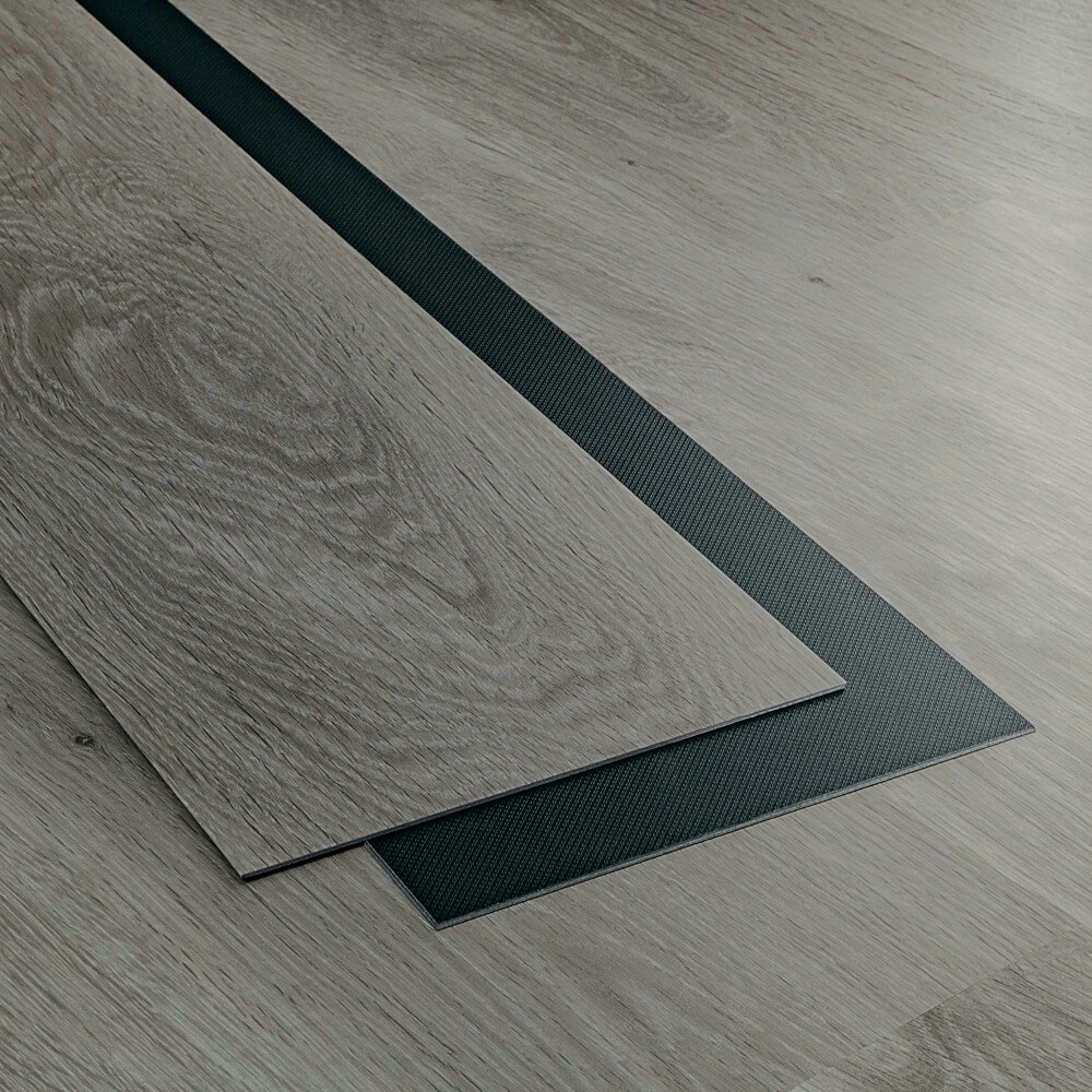 Closeup view of a floor with Everest vinyl flooring installed