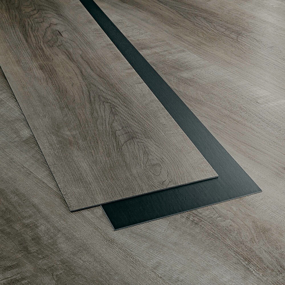 Closeup view of a floor with Slate Grey vinyl flooring installed