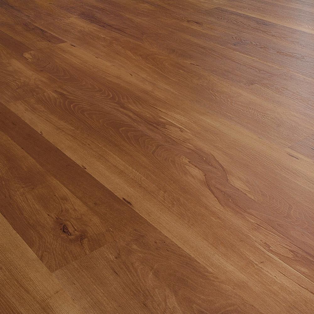 Closeup view of a floor with Grand Oak vinyl flooring installed