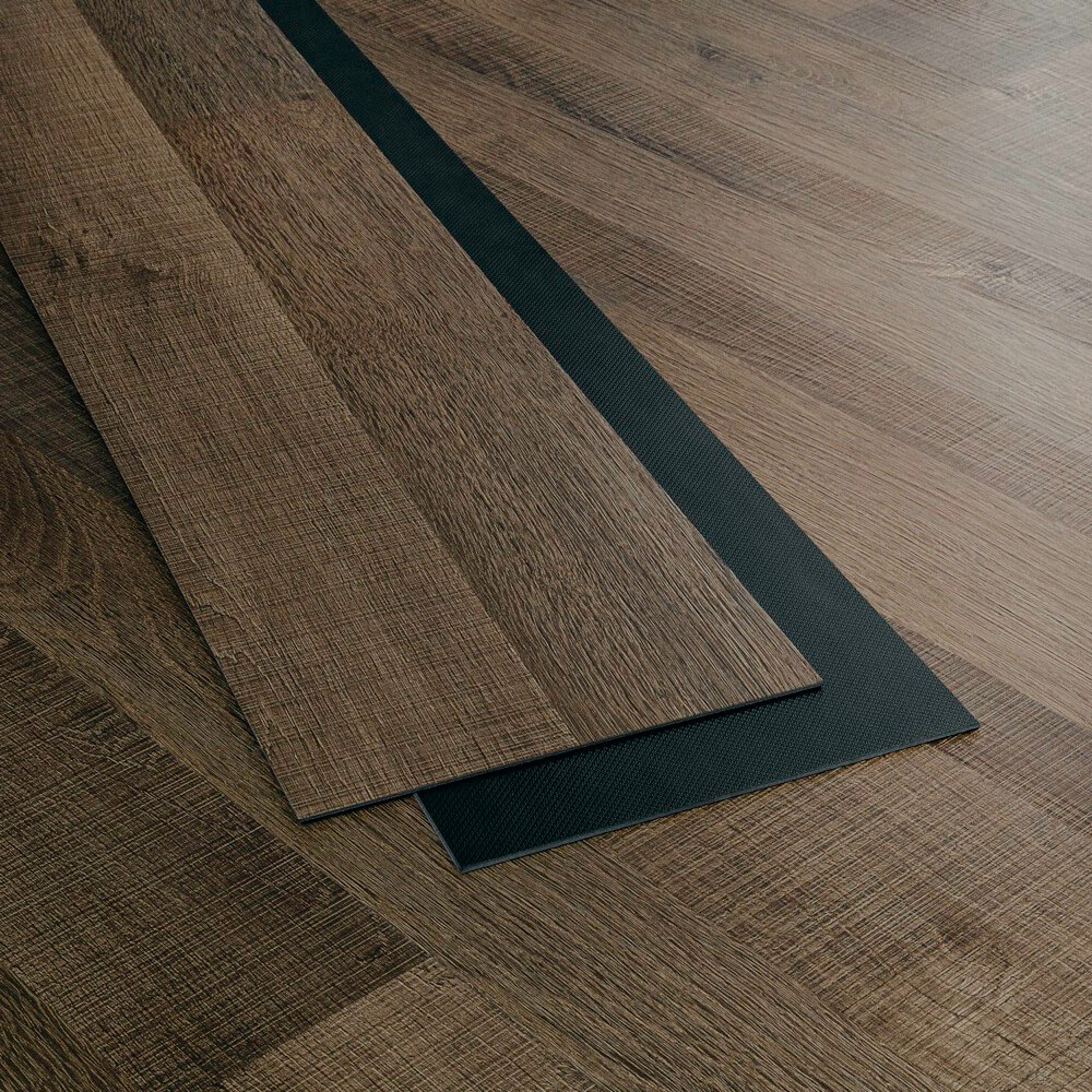 Closeup view of a floor with River North vinyl flooring installed
