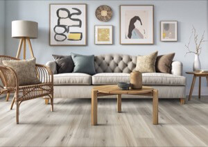 Example of a room using Pearl vinyl flooring (SKU: 2901) in the Studio Floating Floor product line
