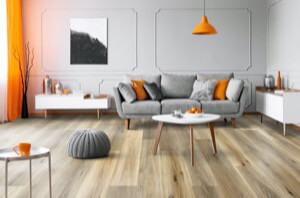 Example of a room using Meadow vinyl flooring (SKU: 2905) in the Studio Floating Floor product line