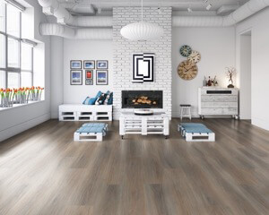 Example of a room using Forest Wood vinyl flooring (SKU: 3803) in the SurfaceGuard product line