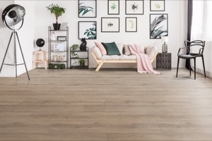Example of a room using Crescent Oak vinyl flooring (SKU: 3805) in the SurfaceGuard product line