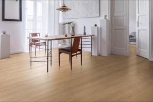 Example of a room using Belvedere Cream vinyl flooring (SKU: 3807) in the SurfaceGuard product line