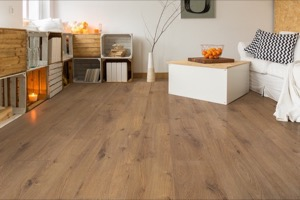 Example of a room using Suede Oak vinyl flooring (SKU: 3808) in the SurfaceGuard product line