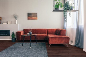 Example of a room using Eastern Walnut vinyl flooring (SKU: 8125) in the Main Street product line